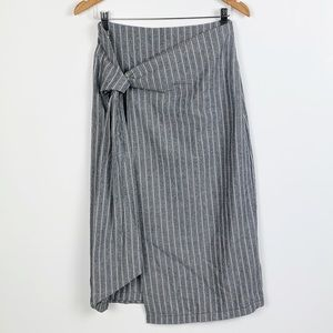 FREE PEOPLE grey striped tie front skirt size 6
